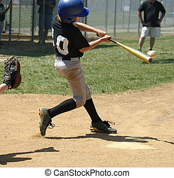 Play Ball - Great Hit! - Baseball batter, catcher during a...
