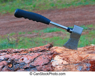 Hatchet chopping wood
