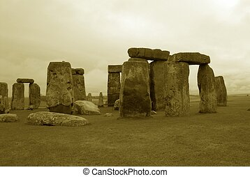 Ancient Stonehenge - Ancient stonehenge in antique sepia...