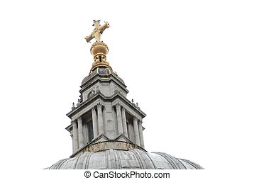 Church Steeple - Gold cross on top of old church steeple