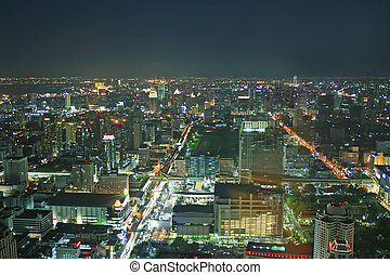 Bangkok at night - Night time scene overlooking downtown...