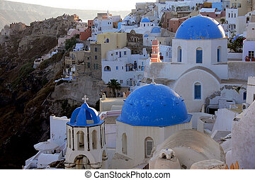 many houses in Santo - litte greek town Oja on Santorin...