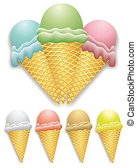 Ice cream - Illustration of ice cream cones with different...