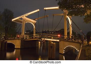 Bridge over Herengracht - Night shot of the bridge over...