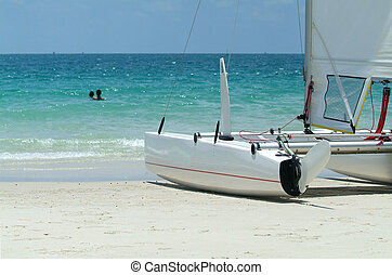 Catamaran on the beach - Detail of catamaran sailboat on a...