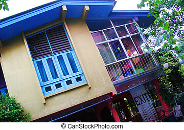 Funky house in the tropics - Exterior of a retro style house...