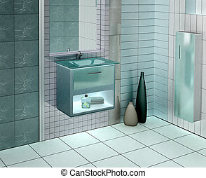 Modern bathroom - 3D rendering of a modern bathroom with...