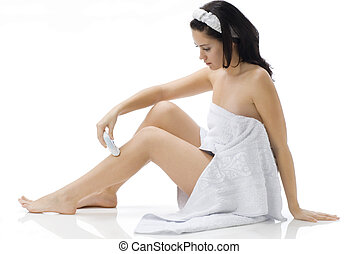 what i am doing - cute and young brunette dressing white...