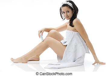 look at mer - cute and young brunette dressing white towel...