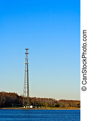 Communication Tower - A communication tower at the edge of a...