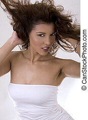 salon style - healthy beautiful long hair in motion created...