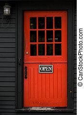 Red door - Open sign on red door in Massachusetts vacation...