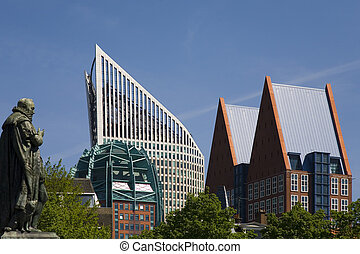 The Hague skyline 1 - Skyline of modern office buildings in...