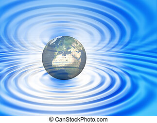 World on the ripple - World concept between blue and white...