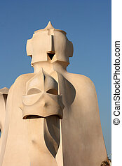 Casa Mila rooftop chimney - Detail of rooftop chimney by...