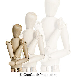Wooden marionettes - Picture collage of four wooden...