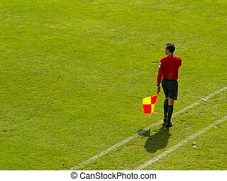 Referee: Liner - A liner in action at a soccer game