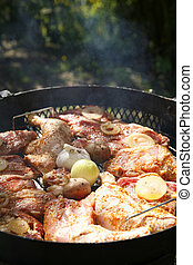 grill party - neck shoulder, onion, garlic, potatoes and...