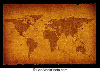 old dirty world map - old grunge world map isolated on black...