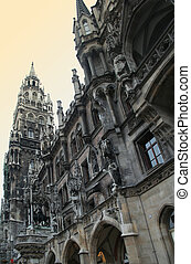 Marienplatz - The exterior facade of the new town hall...