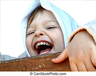 Laughing child - isolated on white