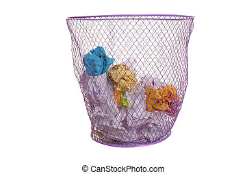 Isolated Waste basket - Mesh Wastepaper basket with crumpled...