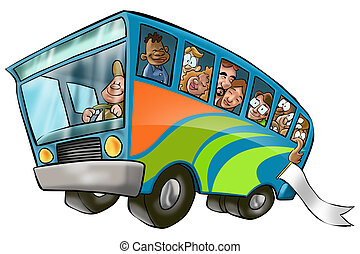 big bus - a lot of people in a bus going to a vacation