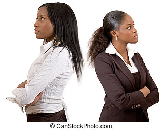 Opposite Goals - This is an image of two businesswomen with...