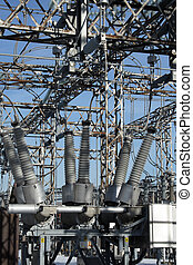 High voltage power substation - Insulators and metallic...