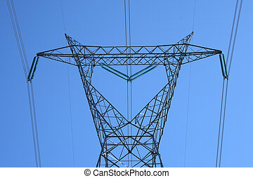 Top of the huge electricity pylon