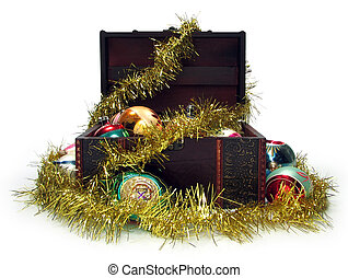 hristmas treasure chest - Christmas balls and golden tinsel...