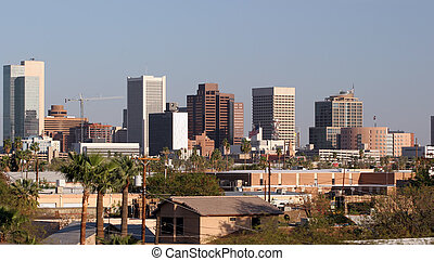 Phoenix Downtown, AZ - Skyscrapers and Single Houses in...