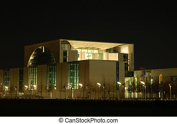 Office Building - Chancellors Office Building at Night in...