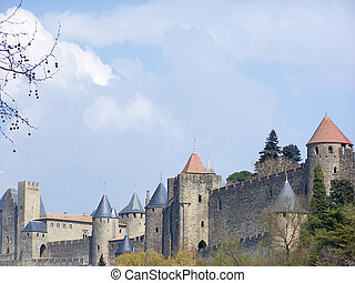 Carcassonne - The walls of the ancient city of Carcassonne...