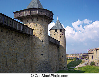 Carcassonne - The walls of the chateau at Carcassonne,France