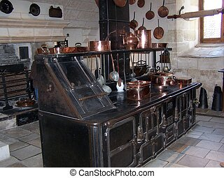 The kitchen at Chenonceau chateau, Loire,France