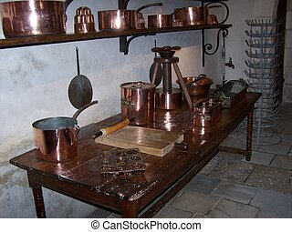 The kitchen at Chenonceau, Loire, France