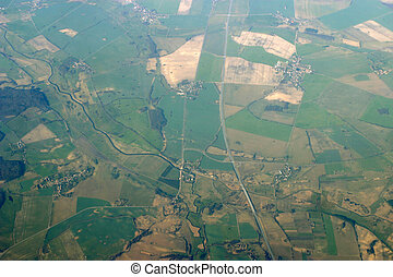 Aerial view - roads, fields and villages - Aerial view from...