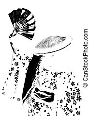 geisha with Fan - illustration of geisha with fan