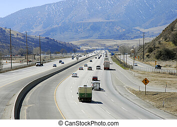 Interstate Highway in mountainous region in California