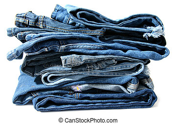 Blue jeans - Trausers made of blue denim jeans on a white...