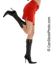 pernas, costas, senhora, vermelho, saia