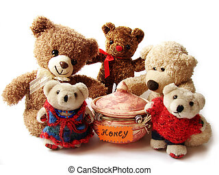 teddy-bears and honey - some teddy-bears standing around the...