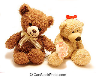 romantic scene - romantic scene with two teddy-bears .one is...