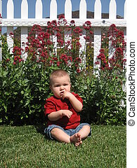 Boy and Picket Fence