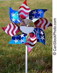 American Pinwheel - Pretty pinwheel with white stars, red...