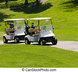 golf carts - two empty white golf carts waiting on the green...