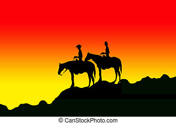 Riders silhouettes - Silhouette of the two cowboys on the...