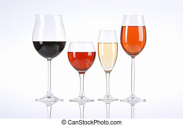 Wine Selection - redwine whitewine and rose in the...