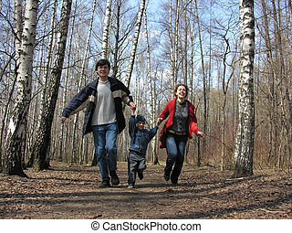 running family in park